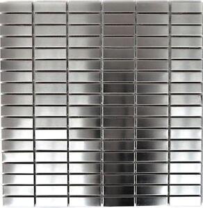 Mosaico-Stecche-Acciaio-Inox-Argento-Spazzolato-PIASTRELLE-SPECCHIO-PARETE-POSTERIORE-da-cucina-129