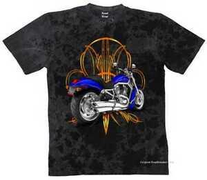 T-Shirt-Batik-Black-Vintage-HD-Biker-Motif-Model-Vrod-Pinstrip