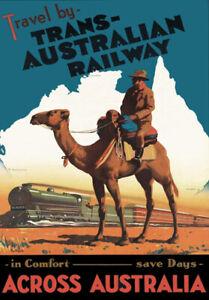 AUSTRALIA LARGE A3 Size CANVAS ART PRINT Retro Vintage Travel Poster