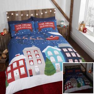Glow in the Dark Midnight Stars Christmas Duvet Quilt ...