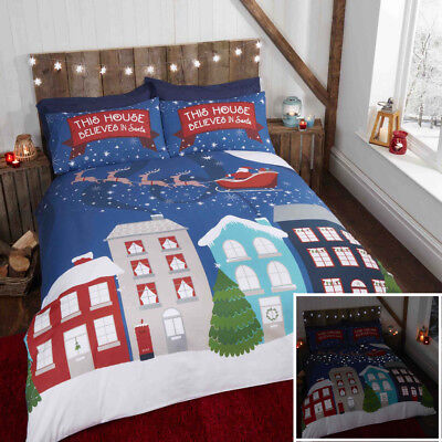 Glow in the Dark Midnight Stars Christmas Duvet Quilt Cover Bedding Set
