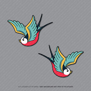 2-x-Swallows-Bird-Vinyl-Stickers-Decals-Car-Van-Laptop-73mm-x-52mm-2935