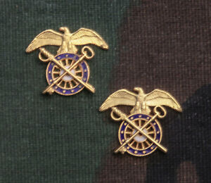 US Army Quartermaster Corps Officer Subdued Collar Branch Insignia NOS Pair