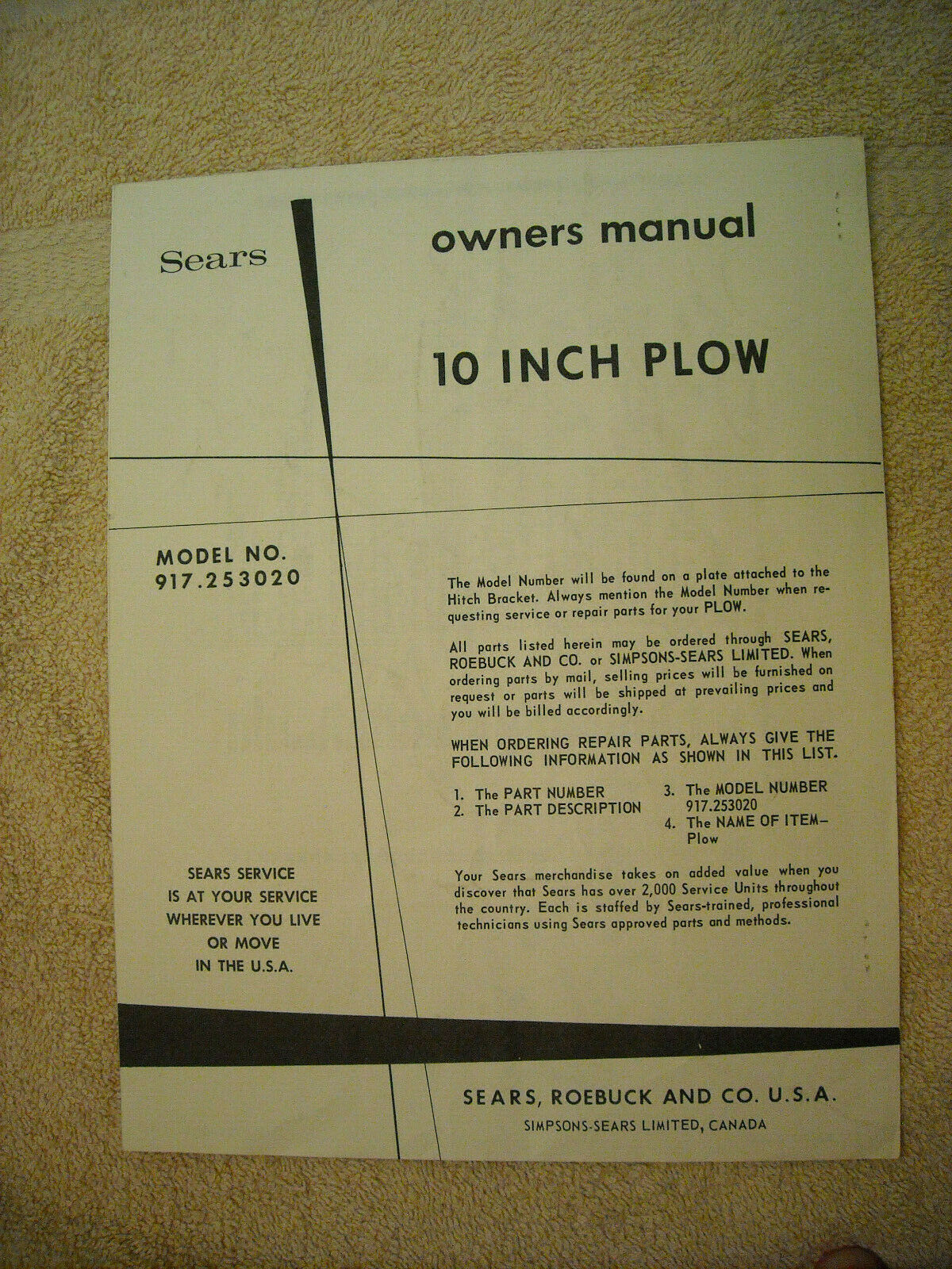 Sears owners manual for model 917 253020 10 Inch Plow