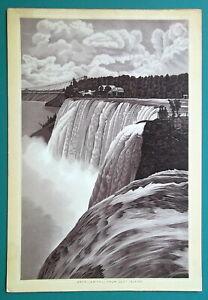 NIAGARA-FALLS-American-Falls-from-Goat-Island-1892-Antique-Lithograph