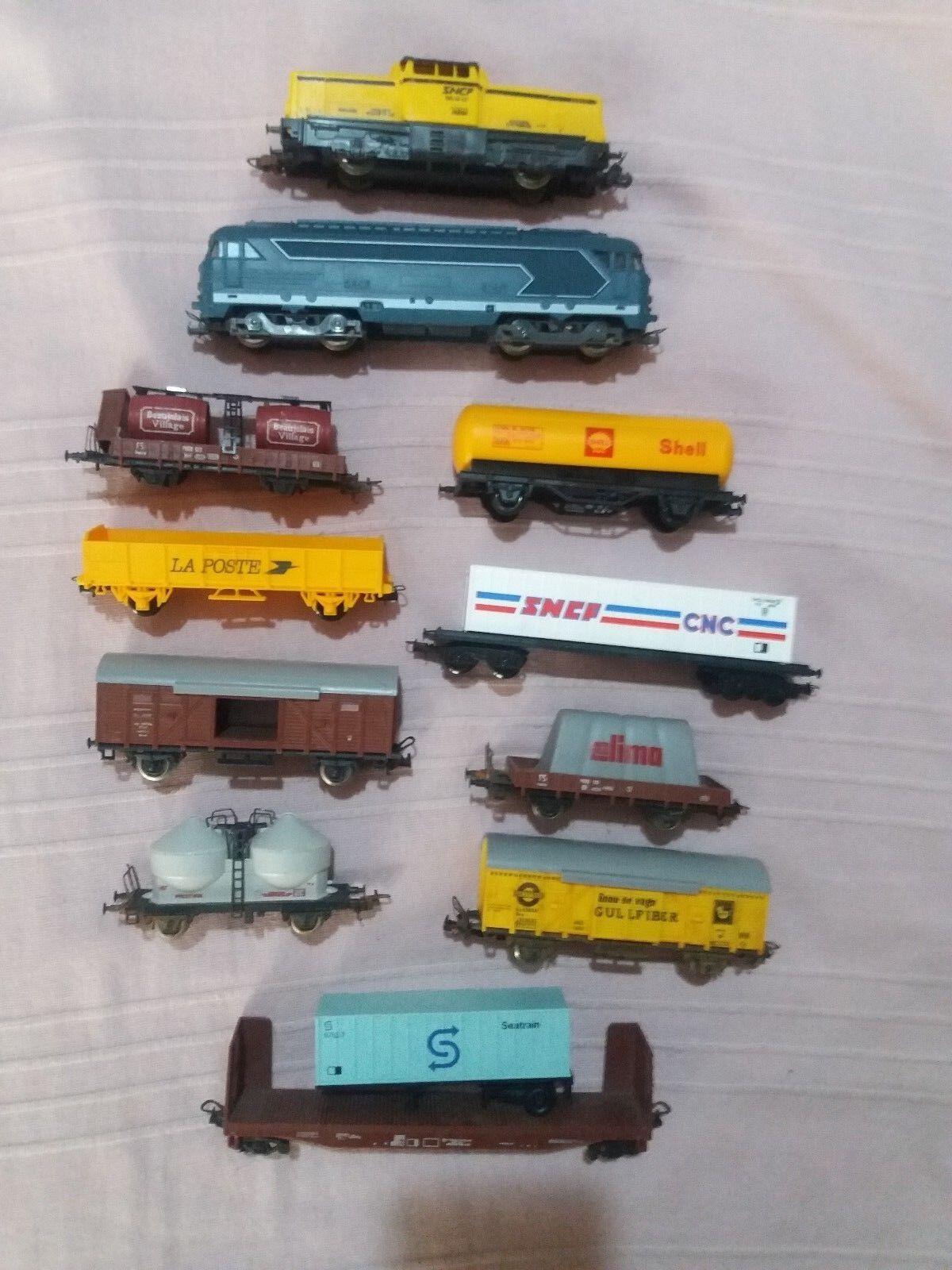 Tranino lima vintage 2 locomotive 9 carri e 39 binari misti