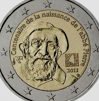 France 🇫🇷 2 Euro Coin 2012 Commemorative Abe Pierre New BUNC from Roll