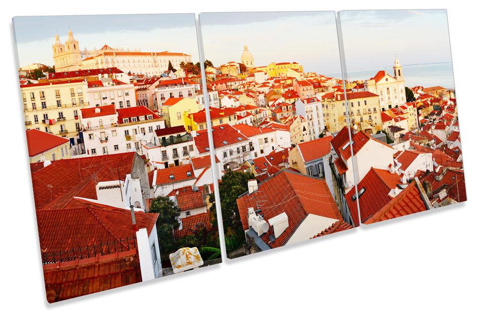 Skyline di Lisbona Lisbona Lisbona Portogallo TREBLE TELA Wall Art Print PICTURE 6901a5