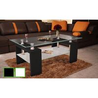 Table Basse De Salon Carrée En Verre Et Mdf 2 Couleurs
