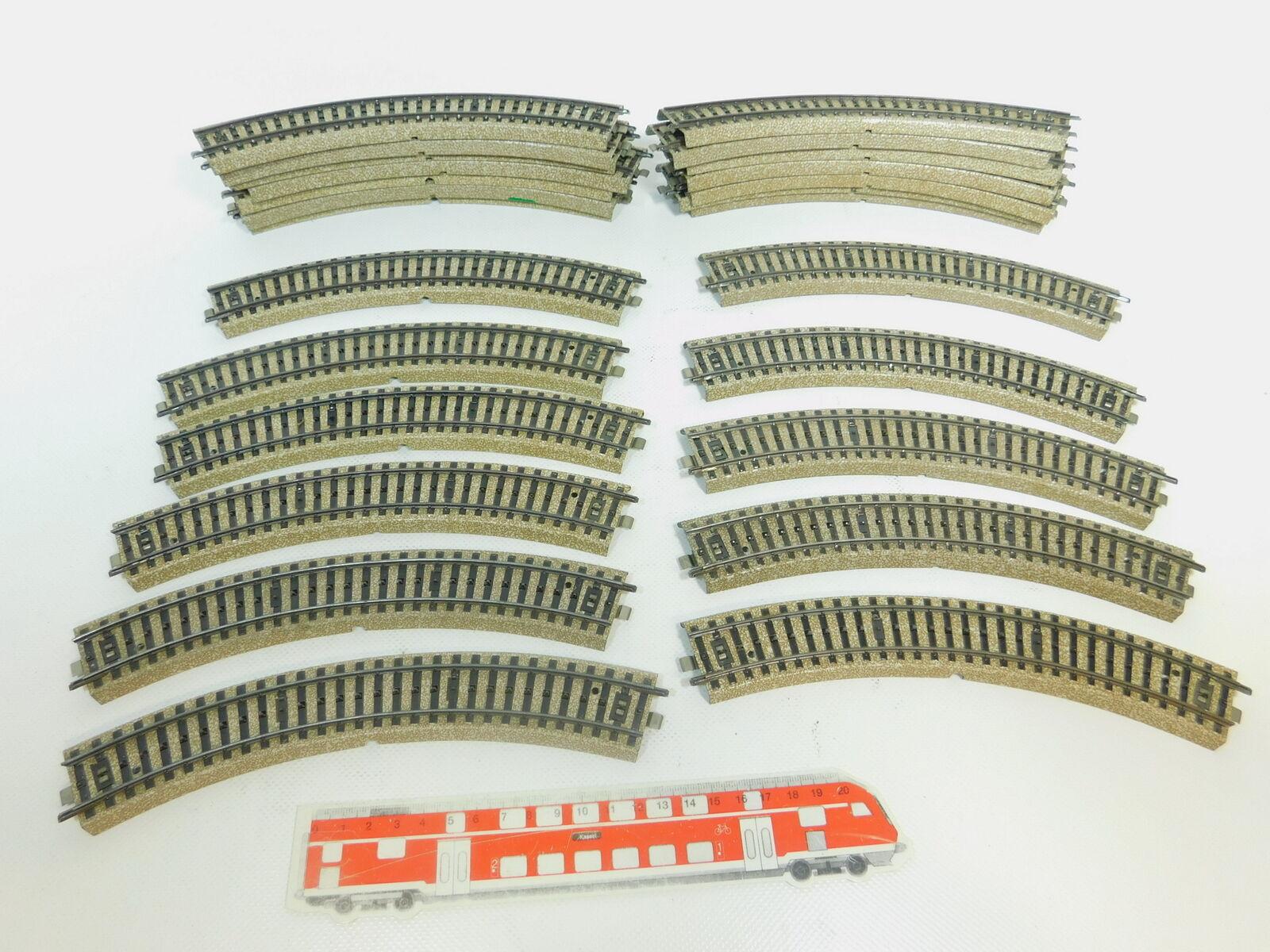 Bn621-2  25x Märklin h0 ac 5120 pezzo di binario ferrovia piegate M-Binario