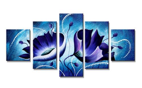 Bild 5 tlg blue flowers art on canvas 160x80cm XXL Bilder Nr 5536/%  Visario