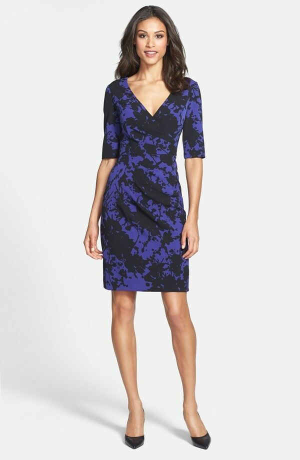 ADRIANNA PAPELL FLORAL PRINT CREPE SHEATH DRESS sz 2