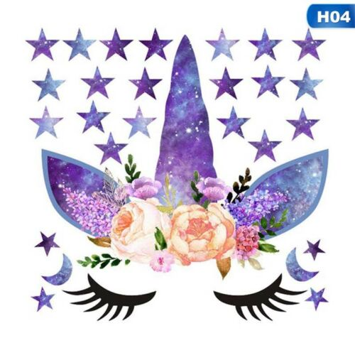Cute Unicorn Stars Wall Stickers For Girls Bedroom Flowers Wall Decals