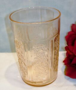 Sharon-Cabbage-Rose-by-Federal-Pink-Depression-Glass-Tumbler-Thin-4-1-8-034