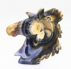 white-black-stripe-crystal-agate-hand-carved-Unicorn-horse-head-decorations-M714
