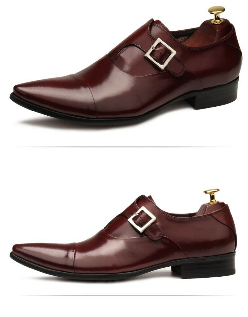 Nuova lista 2019 Uomo Pointy Toe Slip On Buckle Oxfords Bussiness Wedding Wedding Wedding Real Leather scarpe  per il commercio all'ingrosso