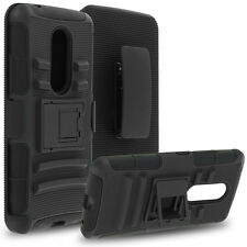 For ZTE Axon 7 Heavy Duty Rugged Stand Case Holster Black