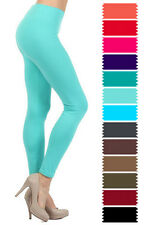 New Women's One Size Solid Plain Leggings Full Long S-XL Stretchy Soft Comfy 128