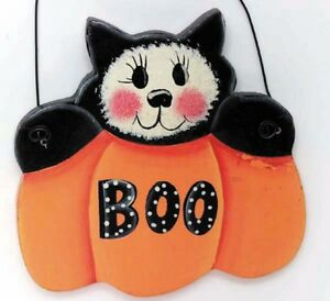 Wooden Cut Out A Funny Cat With A Boo Pumpkin Halloween