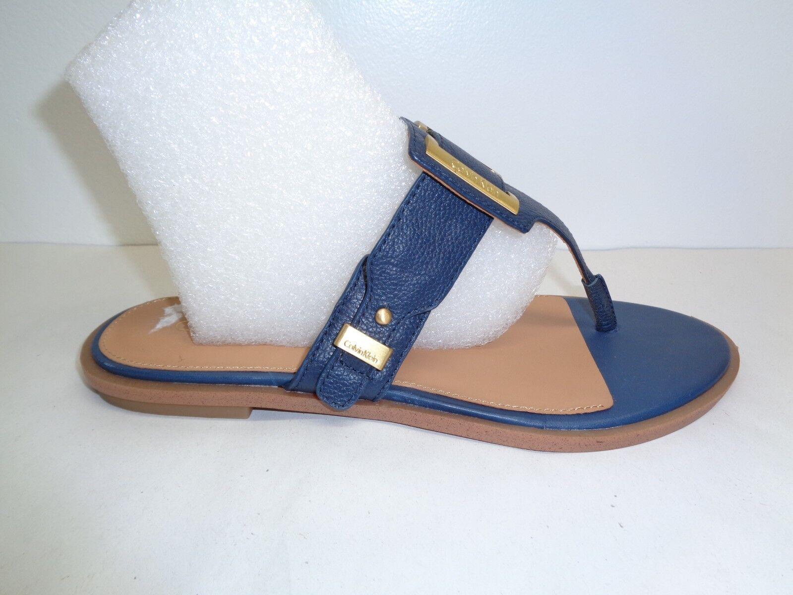Calvin Klein Größe 6.5 M ULA Navy Blau Leder Toe Ring Sandales NEU Damenschuhe Schuhes