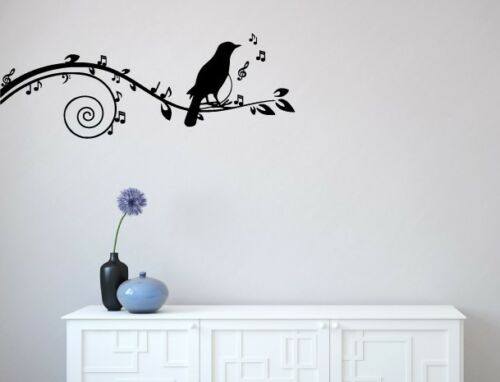 """WALL Wall Vinyl Decal by YYDCo. 60/""""w x 22/""""h BLACK Songbird on Musical Branch"""