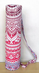 (Pink Ombre Half) - Indian Craft Castle Hippie Yoga Mat Carrier Bag with