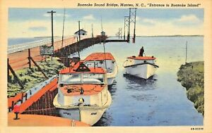 MANTEO-NC-ROANOKE-SOUND-BRIDGE-ENTRANCE-TO-ISLAND-1953-PSMK-W-B-FEARING-POSTCARD