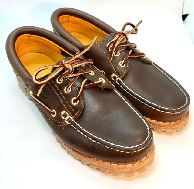 Eye Lug Brown Leather Boat Shoes Size
