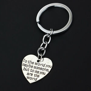 Heart-Someone-World-Family-Gifts-Words-Love-Silver-Plated-Keyring-Trendy-Fashion