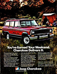 Jeep Cherokee Chief >> Details About 1982 Jeep Cherokee Chief Shown In Dark Red Photo Ad Family Camping