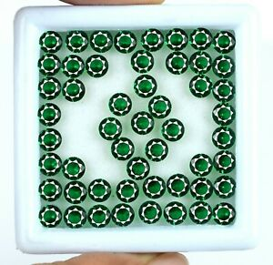 50 Pcs Colombian Emerald May Birthstone Lot Natural Round 10.20 Ct Certified