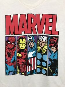 Marvel-Comics-Spider-Man-Iron-Man-Captain-America-Thor-Size-L-11-13-Shirt-Top