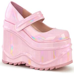 Demonia-WAVE-32-Pink-Hologram-Women-039-s-Heels-amp-Platform-Shoes