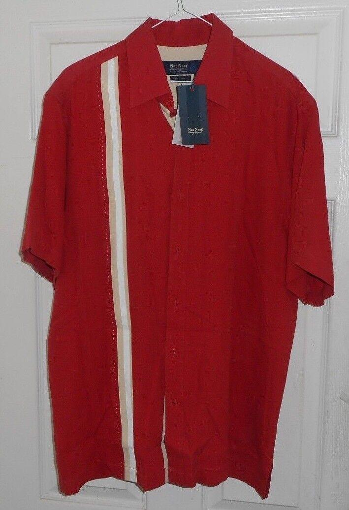 New+Tags  NAT NAST Red + White & Khaki Stripes  Button Front 100% Silk Medium