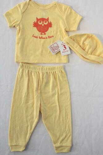 NEW Baby Boys 3 Pc Layette Set 0-3 Months Shirt Pants Hat Outfit Owl Yellow