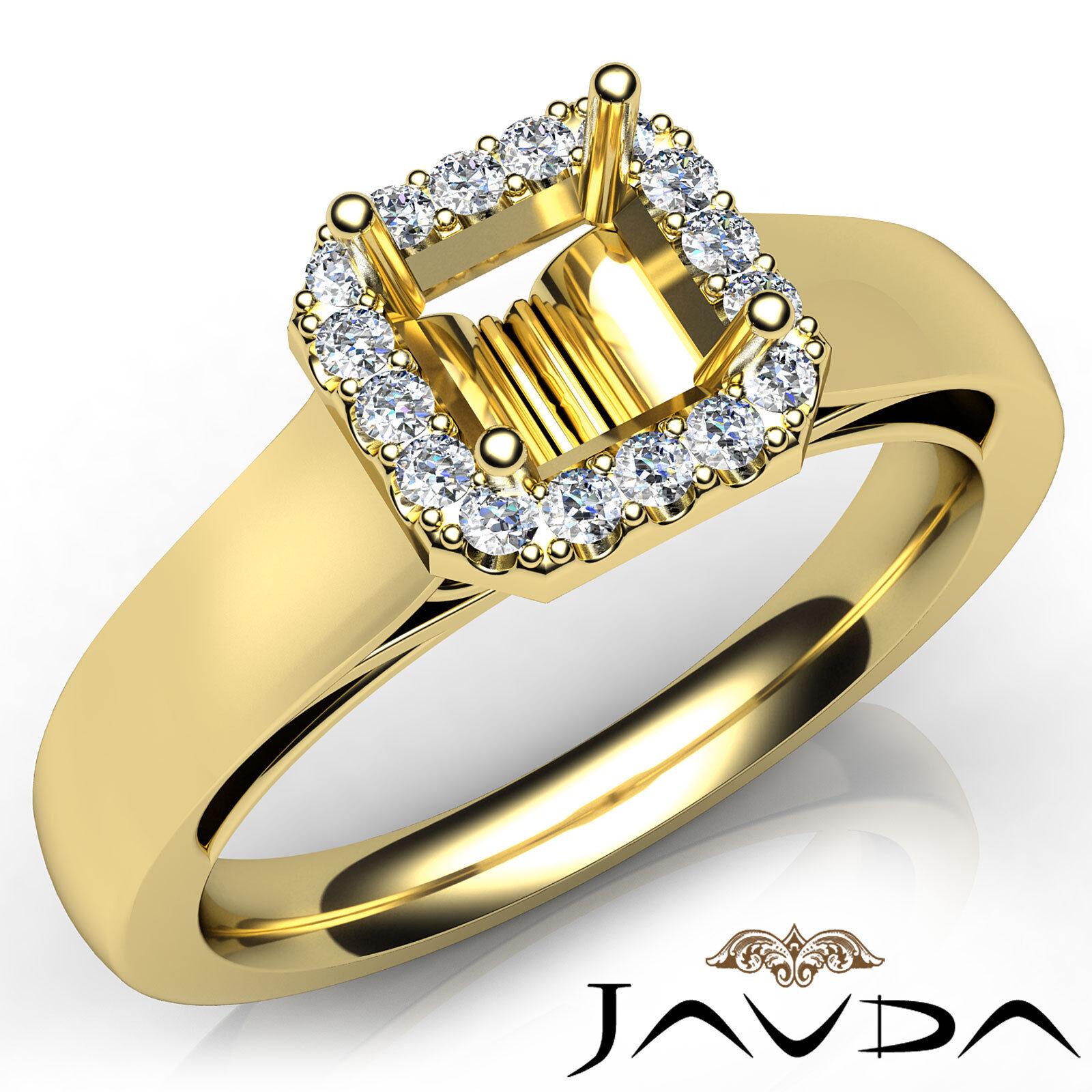 Halo Setting Asscher Diamond Engagement 14k Yellow gold Semi Mount Ring 0.2Ct