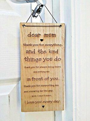 ' Dear Mum 'aufhängen Sentimental Andenken Geburtstag Muttertag Geschenk Elegante Form