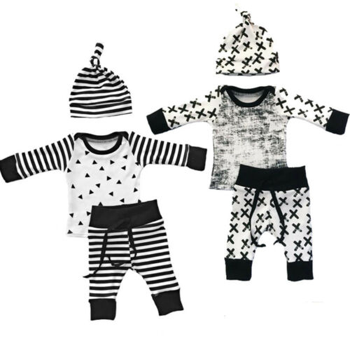UK STOCK Baby Boy Girl Kids Newborn Infant Top Hat Trousers Outfits Clothing Set