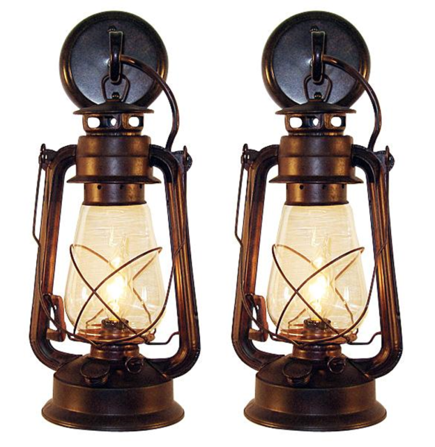 2 Rustic Vintage Lantern Wall Mounted Light Sconce Large For Online
