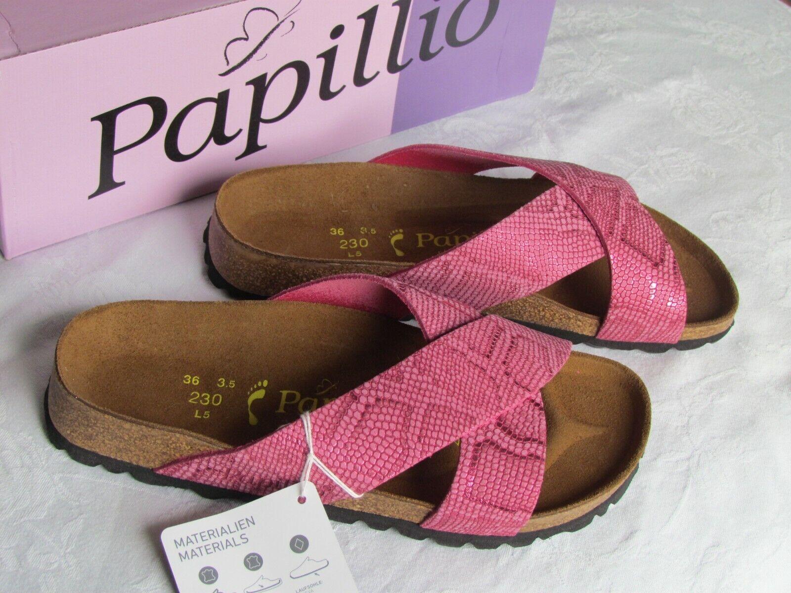 Nuevas damas De Cuero rosado rosado rosado pitón Papillio Daytona Mulas Sandalias UK Talla 3.5 EU 36  estilo clásico