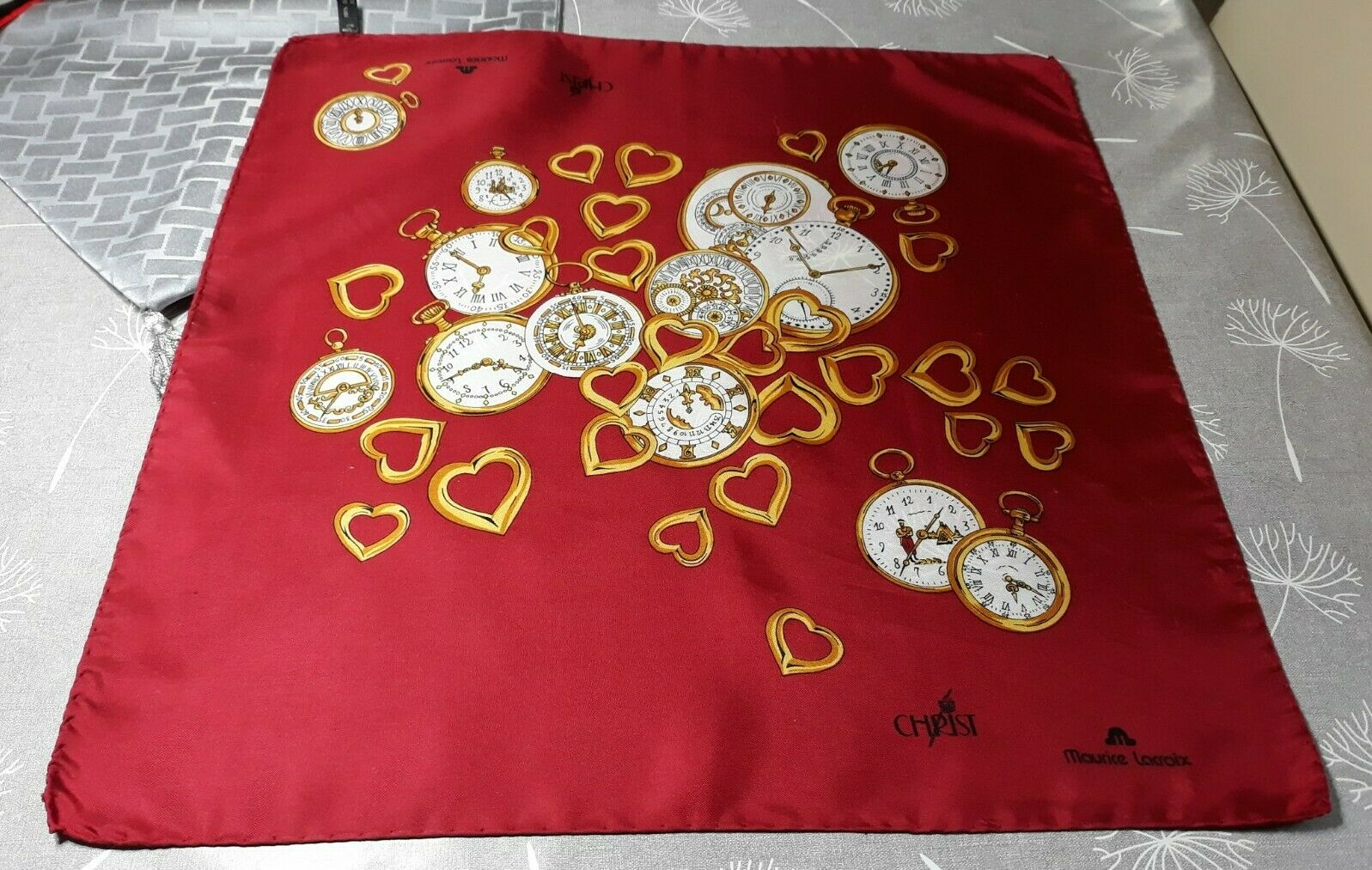 MAURICE LACROIX lovely red silk scarf with gold hearts and clock faces