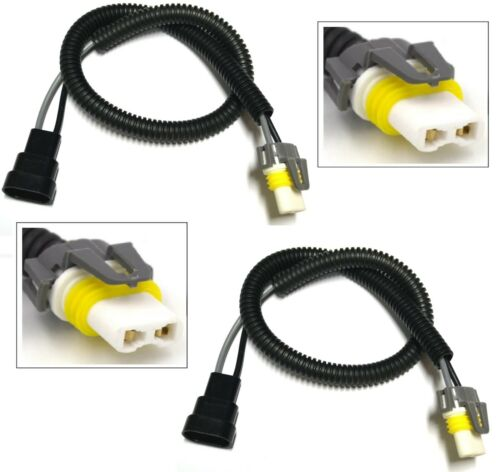 Extension Wire Ceramic 9005 HB3 Two Harness Head Light High Beam Plug Socket Fit