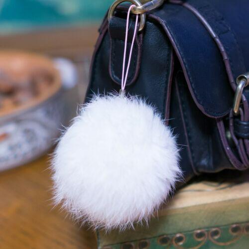 Rabbit Fur Fluffy Pompom Ball Handbag Car Charm Key Chain Keyring Purse Bon Pon