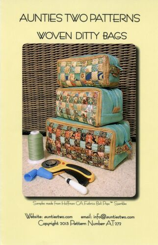 Pattern Woven Ditty Bags Totes NIP Aunties Two