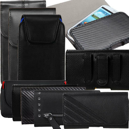 Black Leather Pouch Case Holster Loop Belt Clip for iPhone 7 6S 6 Galaxy J1 J3