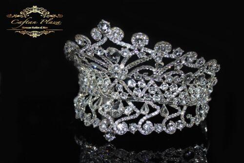 Tiara XXL Diadem Krone Strass Kristall Brautschmuck Hochzeit Silber elegant NEU