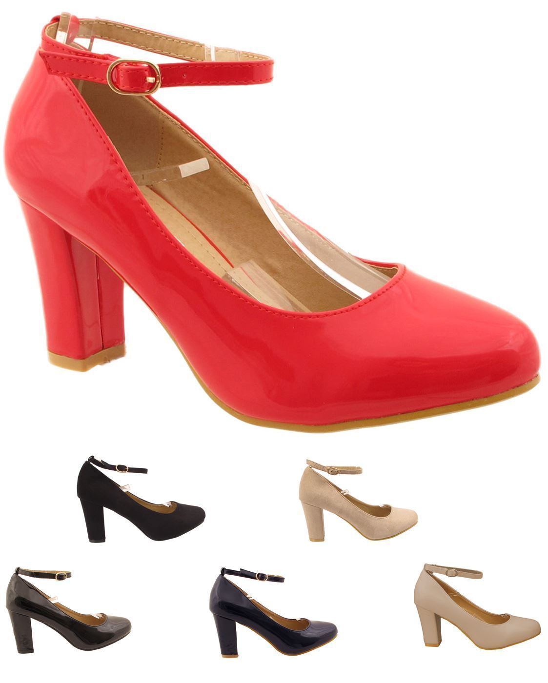 New or Mujer Mid Size Block Heel High Gloss or New Suede Buckled Ankle Strap  Zapatos 02959a