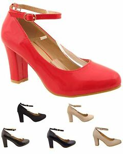 New Donna Mid Size Block Heel High Gloss Ankle or Suede Buckled Ankle Gloss   3a8550