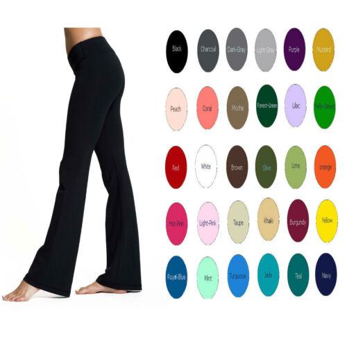 "Women Premium Cotton Bootcut High Waist Foldover Flare Yoga Pants 32/"" XS-5X USA"