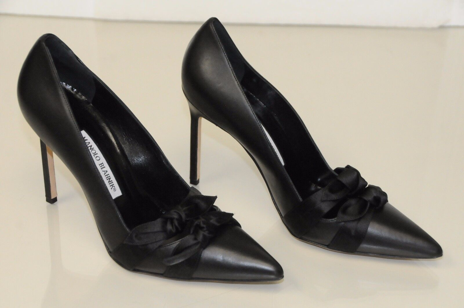 825 New Manolo Blahnik  BB Heel Black Leather Satin 105  Pumps shoes 40.5 41.5